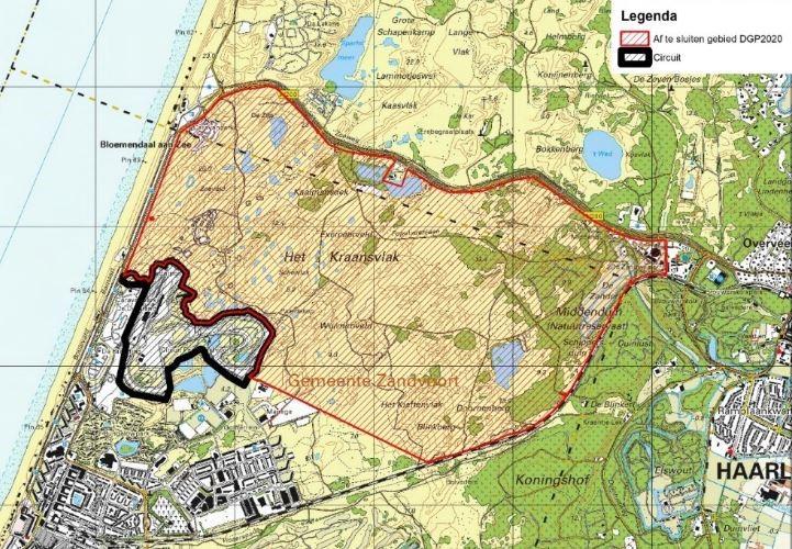 Kaart toegankelijkheid duinen Zandvoort tijdens F1
