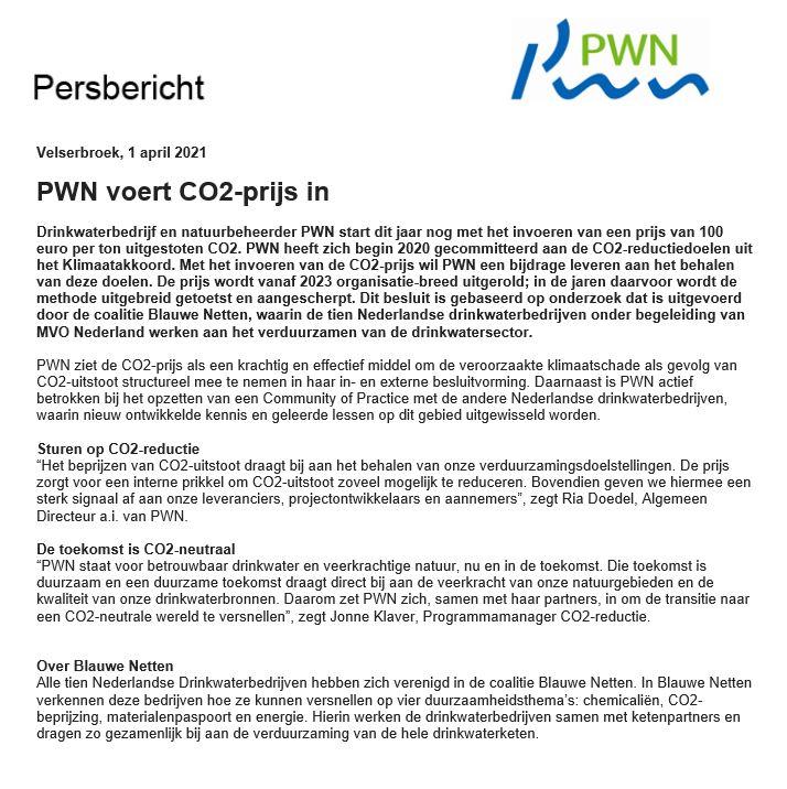Persbericht 01-04-2021 PWN voert CO2-prijs in