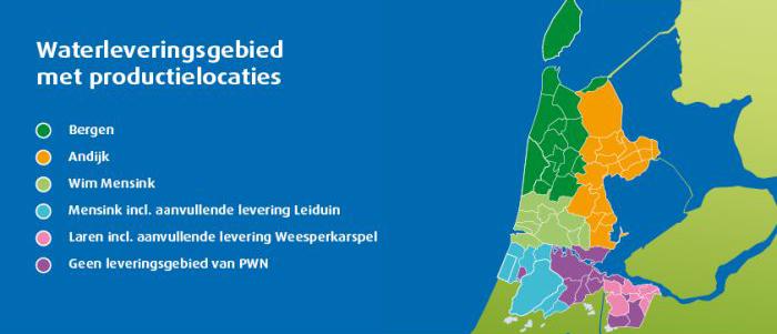 Op deze locaties voorziet PWN de waterlevering