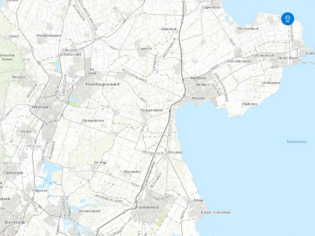 Kaart met PWN locaties