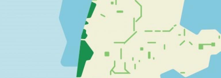 Schematische kaart van Noord-Holland met daarin aangegeven welke locaties vallen onder Natura 2000