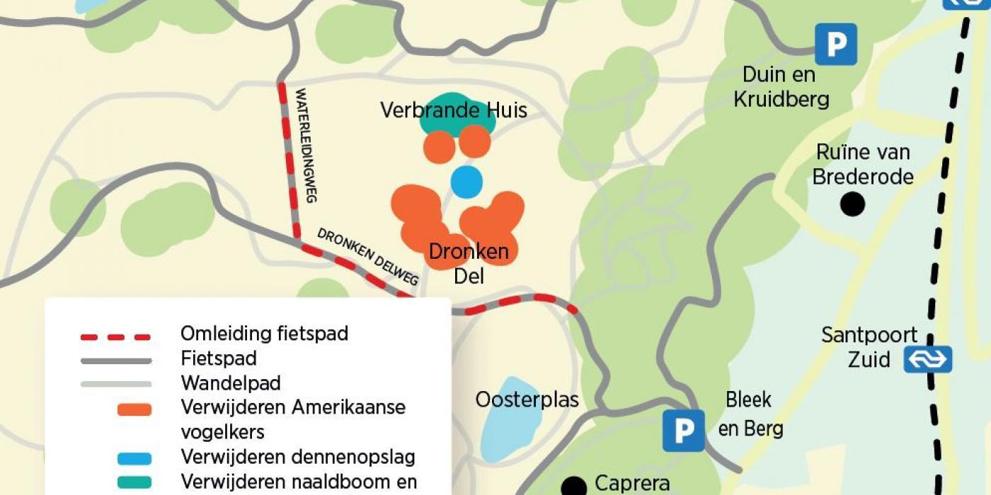 Kaart van gebied waar PWN werkzaamheden uitvoert