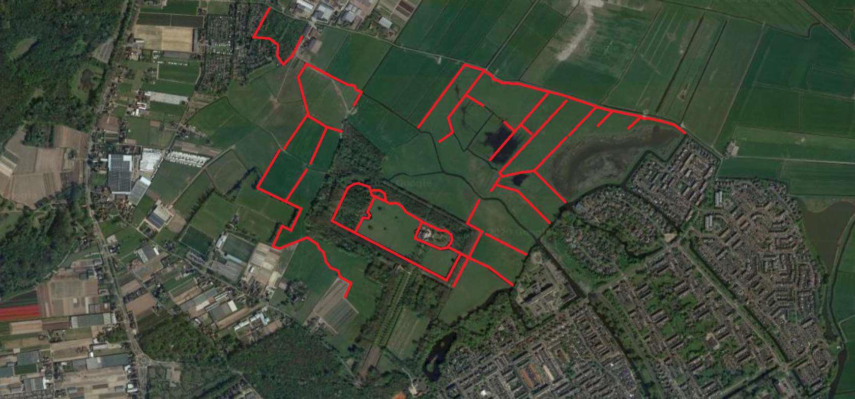 Kaart landgoed marquette watergangen baggeren 2021